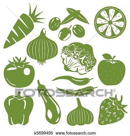 剪贴画 粮食, 绿色, 图标, 放置