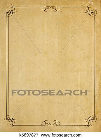 Picture   Very Old Blank Paper Background With Scroll Border. Fotosearch    Search Stock Photography  Blank Paper Background