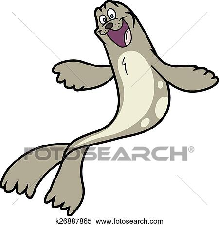 clipart of cartoon seal or sea lion k26887865 search clip art rh fotosearch com sea lion clip art black and white sea lion swimming clipart