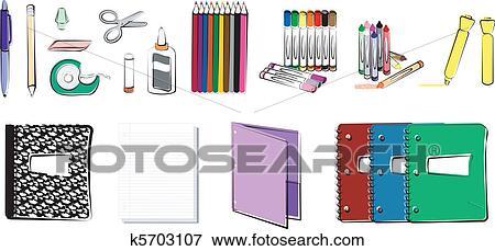 Büromaterial clipart  Clip Art - schule, und, büromaterial k5703107 - Suche Clipart ...