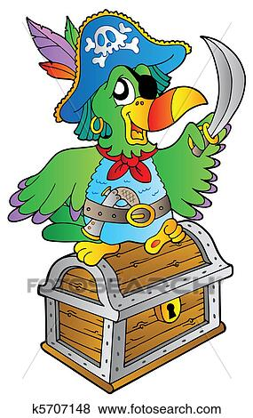 Clip Art of Pirate parrot on treasure chest k5707148 ...