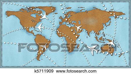 Stock illustration of airline planes travel flights air traffic air travel flight paths dotted lines on world map as commercial airline passenger jets fly air traffic gumiabroncs Images