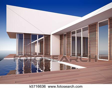 Banque d 39 illustrations moderne maison dans for Maison style minimaliste