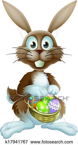 Clipart lapin p ques oeufs chocolat k17941767 recherchez des cliparts des illustrations - Image lapin de paques ...