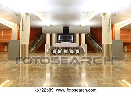 disegno pavimento Granito : grande, moderno, salone, con, granito, pavimento, colonne, e, due ...