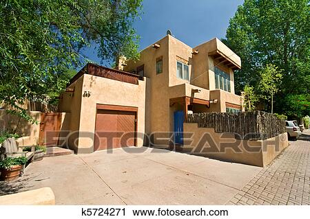Stock Photography Of Modern Adobe Single Family Home In