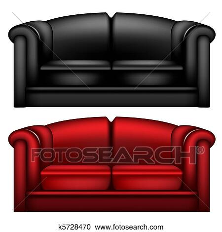 clipart dunkel schwarz rot ledern sofa k5728470 suche clip art illustration wandbilder. Black Bedroom Furniture Sets. Home Design Ideas