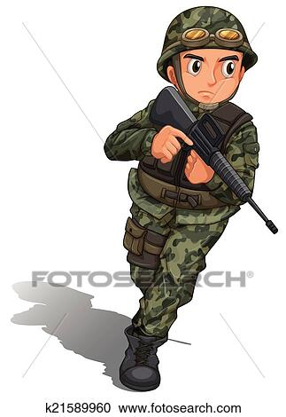 clipart of a soldier with a gun k21589960 search clip art rh fotosearch com soldier clip art in black soldier clipart images