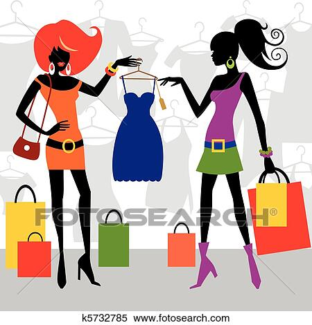 clipart of fashion shopping women k5732785 search clip