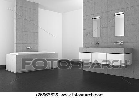 Archivio illustrazioni   moderno, bagno, con, parete concreta, e ...