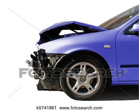 banques de photographies endommag voiture apr s une accident isol blanc k5741861. Black Bedroom Furniture Sets. Home Design Ideas