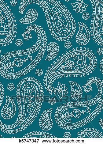 Utklipp - indisk, mønster, med, paisley.. fotosearch - søk utklipp