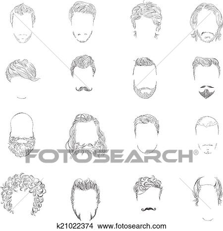 clipart homme style cheveux ensemble k21022374 recherchez des clip arts des illustrations. Black Bedroom Furniture Sets. Home Design Ideas