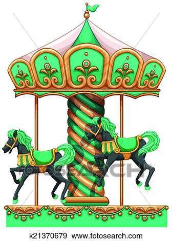 剪贴画 - a, 绿色, 旋转木马
