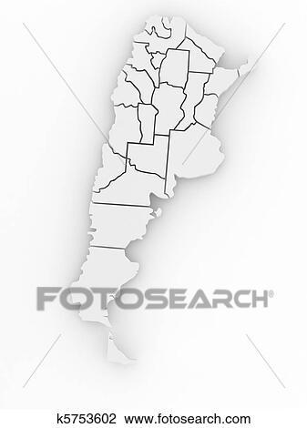 Clip Art Of Threedimensional Map Of Argentina D K - Argentina 3d map