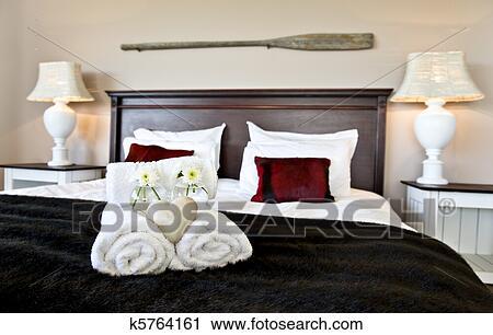 Stockfotografering   soveværelse, klar, by, gæster, ind, blød ...