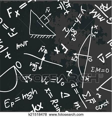 seamless, 模式, 带, 物理学, 公式, 在上, a, 黑板图片