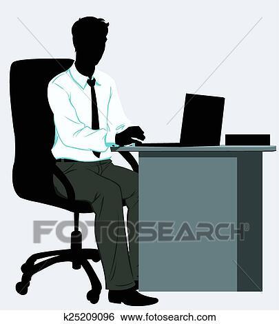 Clipart silhouette homme les bureau for Bureau homme