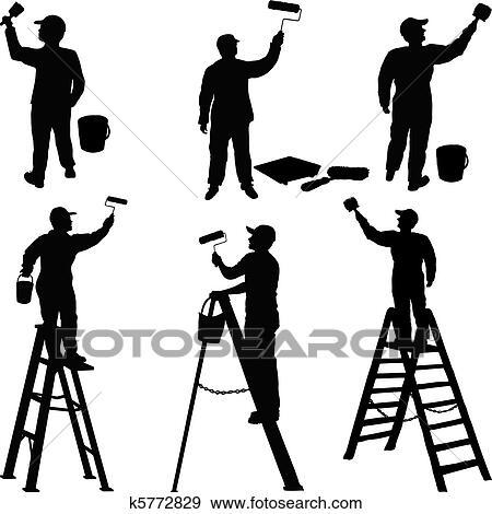 Maler und lackierer clipart  Clipart - maler, und, maurer, silhouetten k6225954 - Suche Clip ...