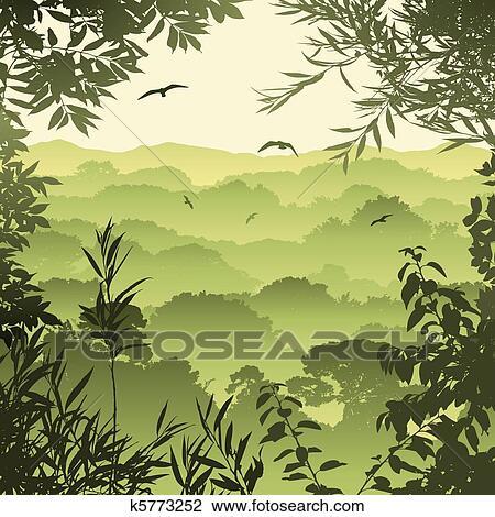 Clipart of Forest Landscape k5773252 - Search Clip Art ...