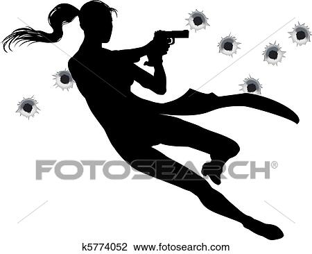 Clipart of Gunfight action woman k5774052 - Search Clip ...