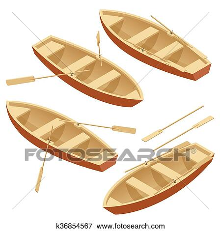 Clip Art Of Rowing Boat Set Wooden With Paddles Isolated Over