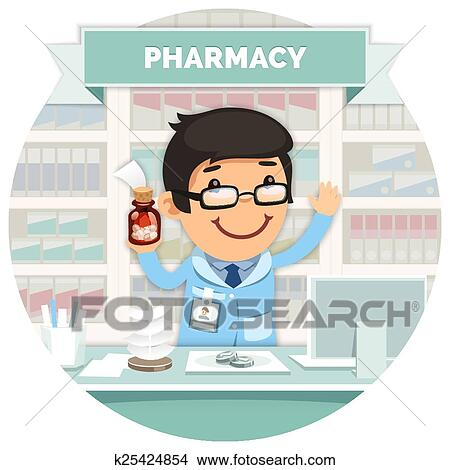 clipart of apothecary behind the counter at the pharmacy round rh fotosearch com pharmacy clipart for cnc projects pharmacy clip art eps ai