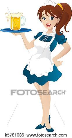 clip art of cartoon illustration of a beautiful sexy waitress rh fotosearch com waitress clip art free waitress clipart free