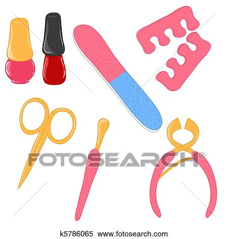 stock illustration of vector manicure and pedicure tools k5786065 rh fotosearch com pedicure cartoon clipart pedicure images clipart