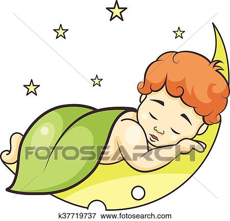 clip art of baby sleeping on the moon k37719737 - search clipart