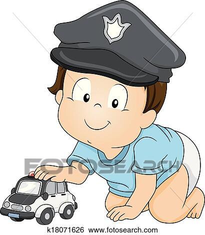 贴画 婴儿, 警察