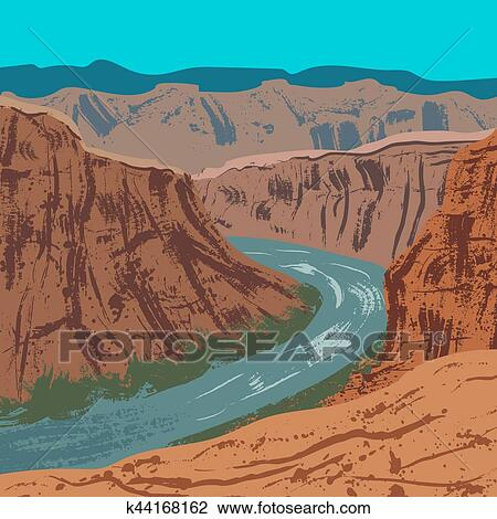 clipart of grand canyon national park k44168162 search clip art rh fotosearch com Grand Canyon Black and White Grand Canyon Graphics