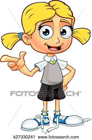 Clipart of Blonde School Girl Character k27330241 - Search Clip ...