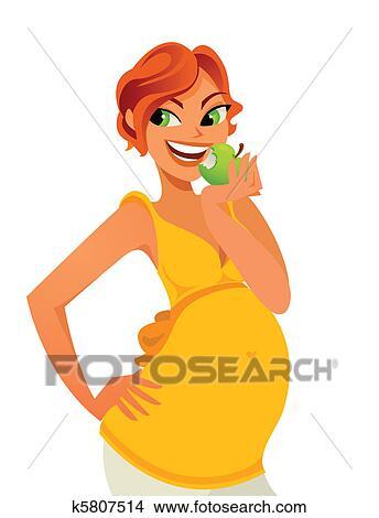 剪贴画 - 怀孕, 吃苹果