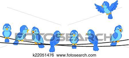 clipart dessin anim oiseau bleu sur fil k22051476. Black Bedroom Furniture Sets. Home Design Ideas