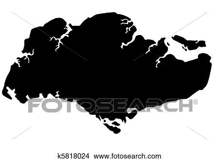 Drawings Of Republic Of Singapore Map Silhouette K Search - Singapore map vector