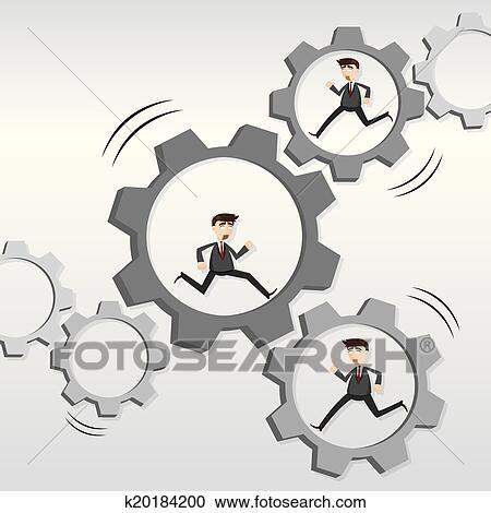 Clipart dessin anim robotique course homme affaires sur m canique engrenage k20184200 - Pelle mecanique dessin anime ...