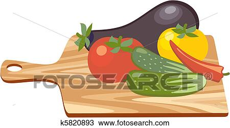 Schneidebrett clipart  Clipart - schneidebrett, mit, gemuese k5820893 - Suche Clip Art ...