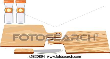 Schneidebrett clipart  Clipart - schneidebrett, mit, messer k5820894 - Suche Clip Art ...