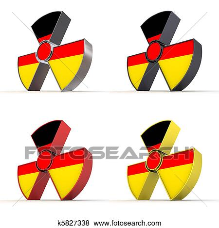 Stock Illustration of Shiny Nuclear Symbol - German Flag Texture ...