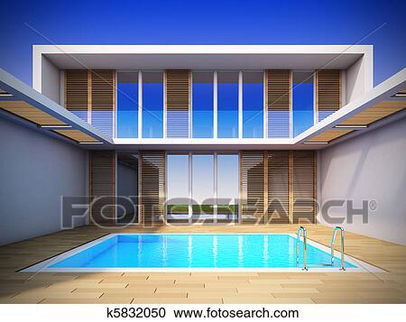 Banque d 39 illustrations moderne maison dans for Ma maison minimaliste