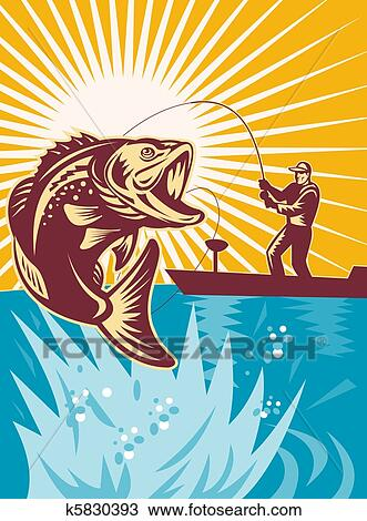 Drawing of Largemouth Bass Fish Fishing k5830393 - Search Clipart, Illustration, Fine ...