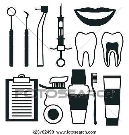 Clip Art Of Medical Dental Equipment Icons Set In Flat Style