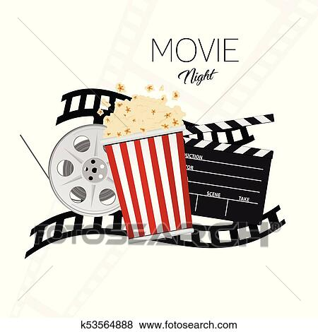 clip art of cinema and movie night illustration background two rh fotosearch com movie night clipart black and white film night clipart