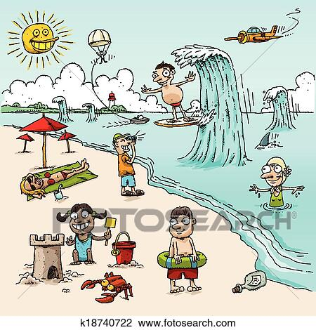 Clipart Of Cartoon Beach Scene K18740722