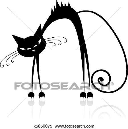 Clipart arrabbiato gatto nero per tuo disegno for Gatto clipart