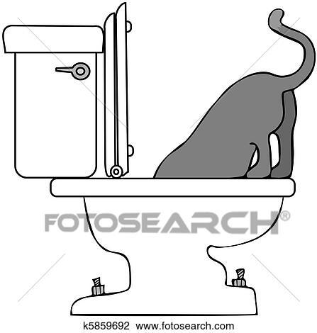 Clip Art Of Cat Drinking From Toilet K5859692