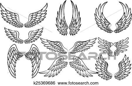 Clipart dessin anim ailes collection ensemble - Aile de dragon dessin ...