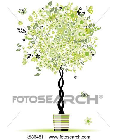 clipart printemps floral arbre dans pot pour ton conception k5864811 recherchez des. Black Bedroom Furniture Sets. Home Design Ideas