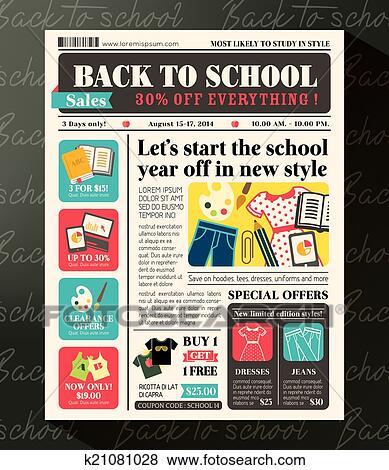 Clip art of back to school sales promotional design template in clip art back to school sales promotional design template in newspaper journal style fotosearch saigontimesfo